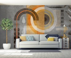 in a living room, panoramic wallpaper of mysterious geometrical forms