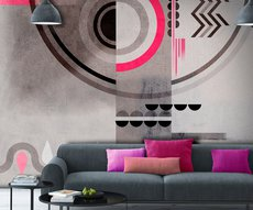 this wall in an ultra modern living room has a spectacular wallpaper with rounded or zebra shapes
