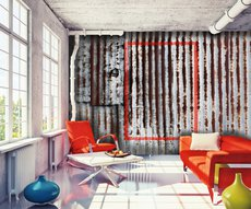 in this very trendy living room panoramic wallpaper representing a rusted metal sheet as a masterpiece of contemporary art