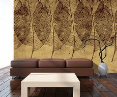 in an entrance, magnificent wallpaper of inlaid leaves on an ochre background