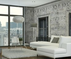 original panoramic wallpaper representing a wall painted in another era