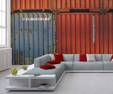 in this living room, a wall on which is a neo-industrial wallpaper representing containers