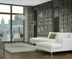 on the wall of this living room overlooking the Gare de Lyon is a wallpaper representing containers in black and white