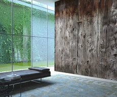 panoramic wallpaper raw material representing a barn door