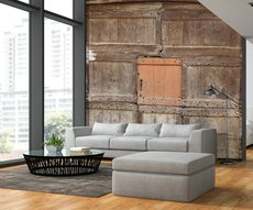 on a wall of a living room, panoramic country wallpaper representing an old barn door