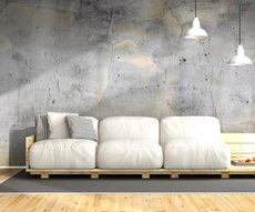 panoramic wallpaper representing a grey and gold concrete wall
