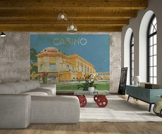 panoramic wallpaper showing a  casino on concrete in a living room