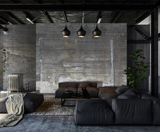 concrete wallpaper in a living room