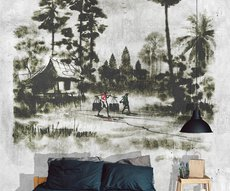 panoramic wallpaper jungle on concrete at the head of the bed in a bedroom
