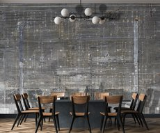 wallpaper electric circuit on concrete in a dining room