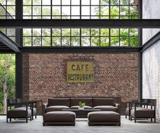 brick wall cafe restaurant in a loft