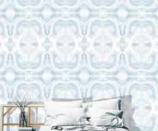 wallpaper with blue marbling in a sleeping room