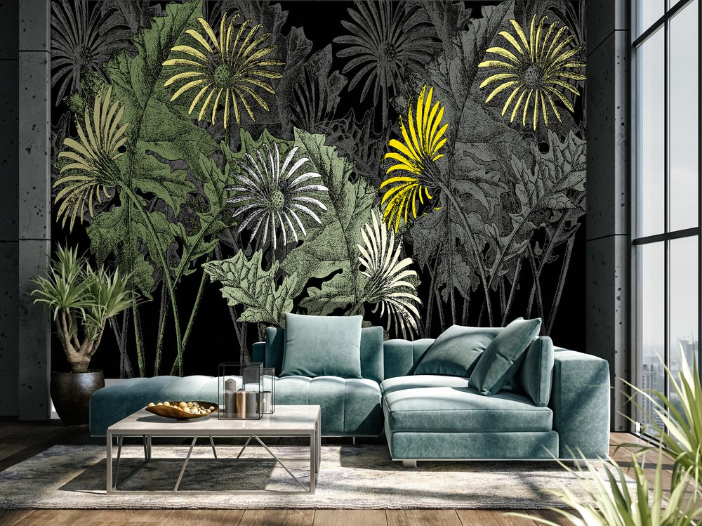 In a living room, panoramic wallpaper representing giant flowers on a black background