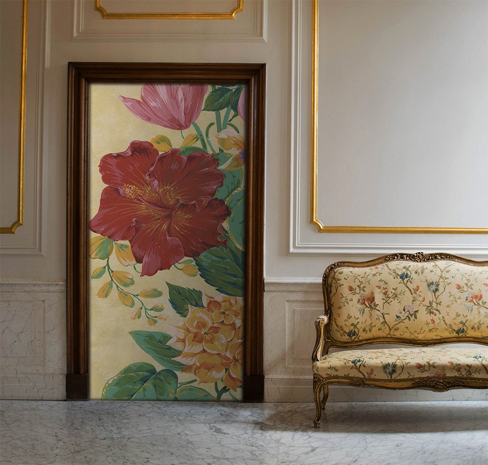 flower door with beige background in a living room