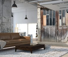 on the wall of a living room, contemporary panoramic wallpaper representing a barn door