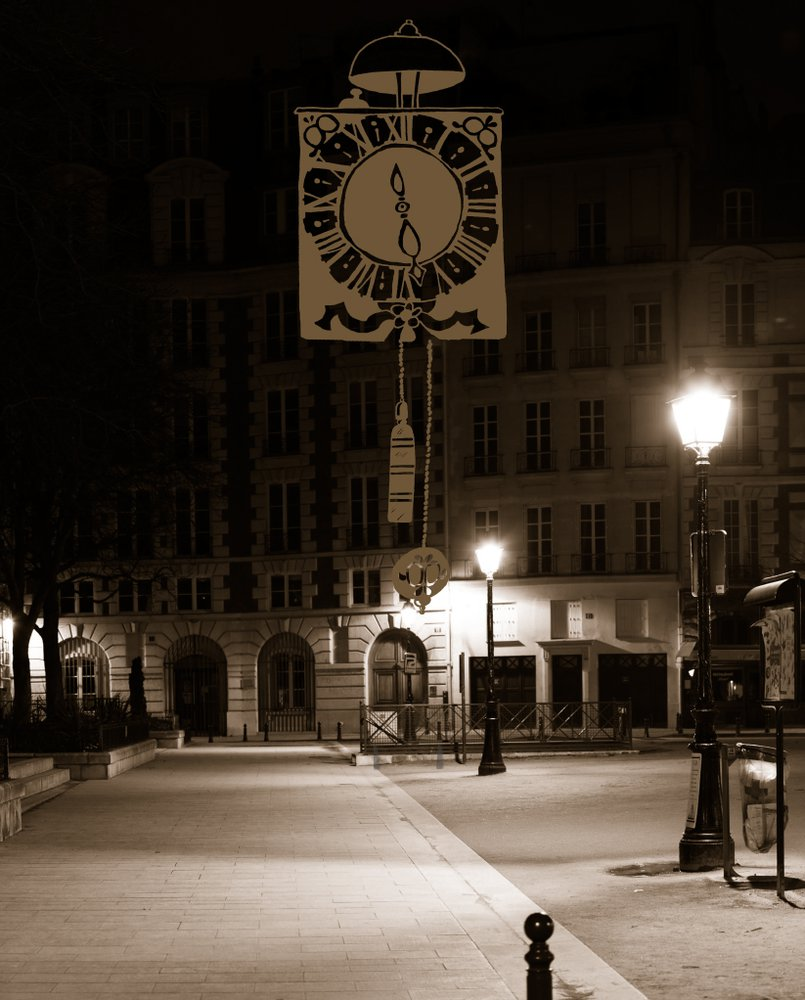 pendule noire paris by night
