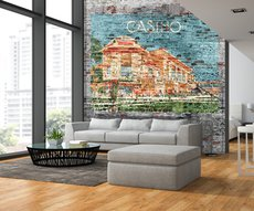 panoramic wallpaper showing a  casino painted on a  brick wall in a living room