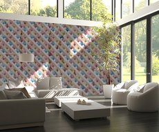 classic panoramic  in a living room:  colorful squares red blue white