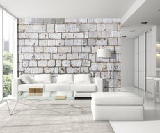 panoramic wallpaper showing a white stone wall in a living room