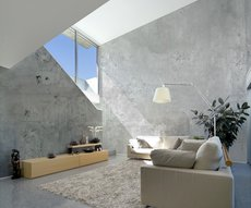 smooth concrete wallpaper in living room