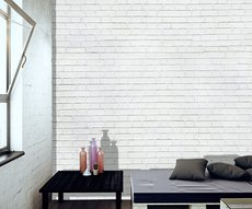 panoramic wallpaper in a living room representing white bricks