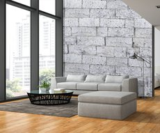 wallpaper showing a  white stone wall in a living room