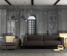 panoramic wallpaper in a living room representing an abandoned orangery