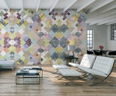 panoramic wallpaper in a trendy living room representing an arrangement of colorful geometric shapes