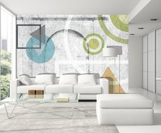 panoramic wallpaper in a living room composed of geometric patterns in color painted on a white brick wall