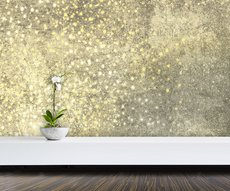panoramic wallpaper in a room representing a rain of golden and white stars