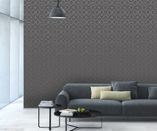 panoramic wallpaper in a living room representing white diamonds on a gray background