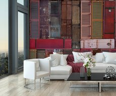 warm panoramic wallpaper of a set of brown shutters in a living room