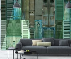 optimistic panoramic wallpaper representing green shutters in a living room