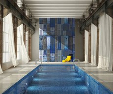 wallpaper representing an assembly of blue shutters in a pool